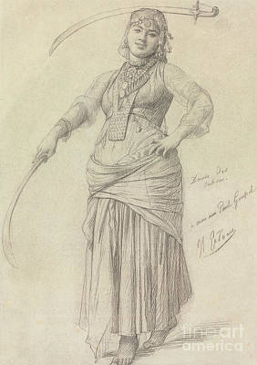 Preparatory Study Drawing - Sabre Dance by Jean Leon Gerome