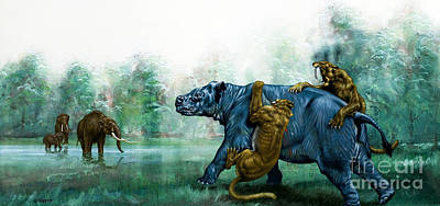 Bite Painting - Sabre Toothed Tigers  Prehistoric Animals by David Nockels