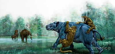 Savage Painting - Sabre Toothed Tigers  Prehistoric Animals by David Nockels