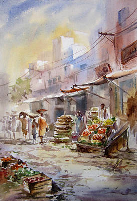 Nca Painting - Sabzi Mandi  by MKazmi Syed