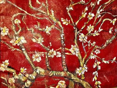 Painting - Sac Rouge Avec Fleurs D'almandiers by Belinda Low