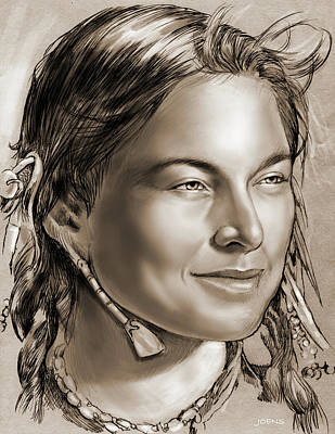 Indian Woman Wall Art - Drawing - Sacagawea 2 by Greg Joens