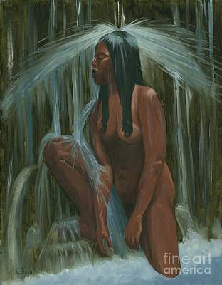 Sacagawea In The Water Cave Art Print by Gail Finn