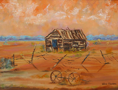 Old Farm Equipment Painting - Sacaton by Lillian Claxton