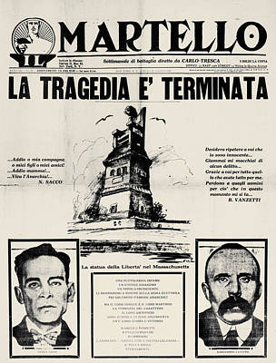 Photograph - Sacco And Vanzetti Front Page by Granger