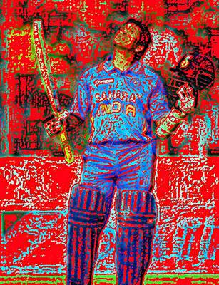 Pietyz Digital Art - Sachin Tendulkar-100th 100-god Of Criket by Piety Dsilva