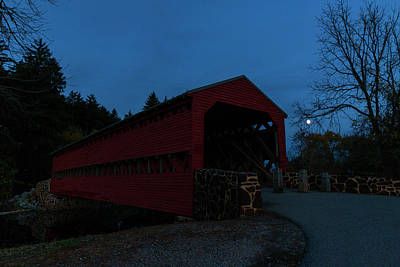 Photograph - Sachs Bridge At Night by Liza Eckardt