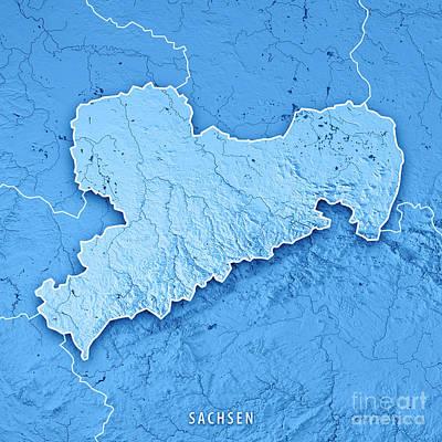 Digital Digital Art - Sachsen Bundesland Germany 3d Render Topographic Map Blue Border by Frank Ramspott
