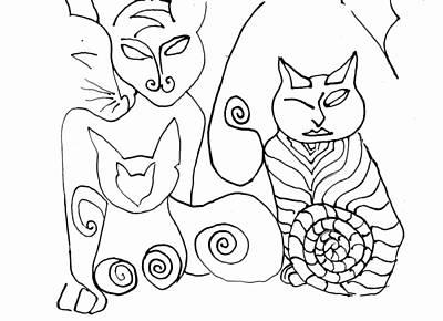 Drawing - Sackettdoodlescats by Deborah jordan Sackett
