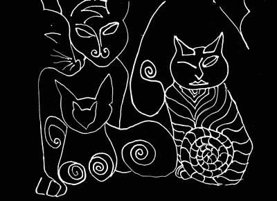 Drawing - Sackettdoodlescats On Black by Deborah jordan Sackett