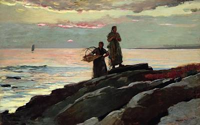Sailboat Painting - Saco Bay by Winslow Homer