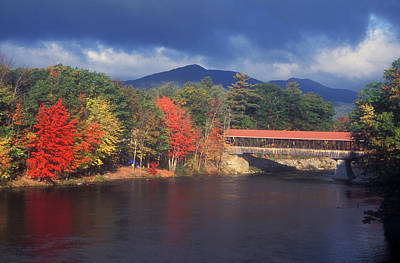 Saco River Covered Bridge Storm Print by John Burk