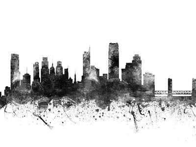 Usa Drawing - Sacramento California Cityscape 02bw by Aged Pixel