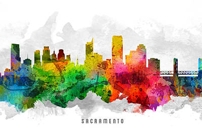 Towns Digital Art - Sacramento California Cityscape 12 by Aged Pixel