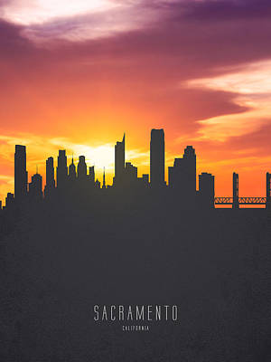 Sunset Digital Art - Sacramento California Sunset Skyline 01 by Aged Pixel