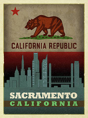 Skyline Mixed Media - Sacramento City Skyline State Flag Of California Art Poster Series 023 by Design Turnpike