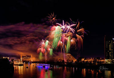 Photograph - Sacramento Fireworks Composite 4 by Jim Thompson