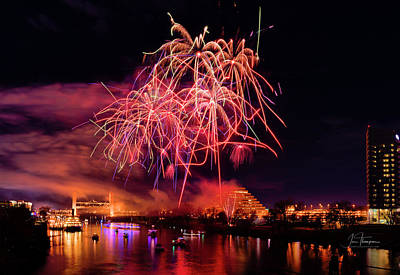 Photograph - Sacramento Fireworks Composite 5 by Jim Thompson