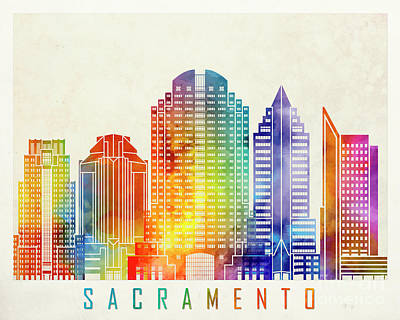 Sacramento Painting - Sacramento Landmarks Watercolor Poster by Pablo Romero