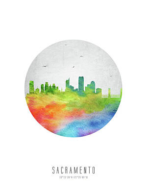 City Scenes Drawings - Sacramento Skyline USCASA20 by Aged Pixel