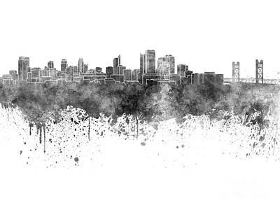 Sacramento Painting - Sacramento Skyline In Black Watercolor On White Background by Pablo Romero
