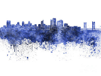 Sacramento Painting - Sacramento Skyline In Blue Watercolor On White Background by Pablo Romero