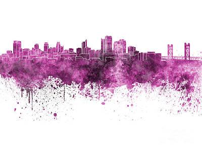 Sacramento Painting - Sacramento Skyline In Pink Watercolor On White Background by Pablo Romero