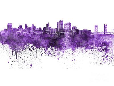 Sacramento Painting - Sacramento Skyline In Purple Watercolor On White Background by Pablo Romero