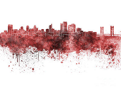 Sacramento Painting - Sacramento Skyline In Red Watercolor On White Background by Pablo Romero