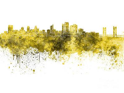 Sacramento Painting - Sacramento Skyline In Yellow Watercolor On White Background by Pablo Romero
