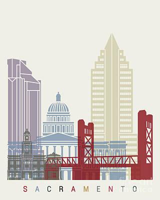 Sacramento Painting - Sacramento Skyline Poster by Pablo Romero