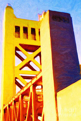 Backroad Digital Art - Sacramento Tower Bridge In Abstract - 7d11564 by Wingsdomain Art and Photography