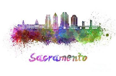 Sacramento Painting - Sacramento V2 Skyline In Watercolor by Pablo Romero