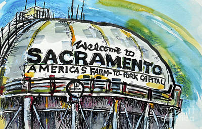 Painting - Sacramento Water Tower by Terry Banderas