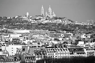 Photograph - Sacre Coeur Church Above Montmartre Neighborhood Paris France Black And White by Shawn O'Brien