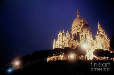 Sacre Coeur Photograph - Sacre Coeur Lit Up At Night With Flood Lights by Sami Sarkis