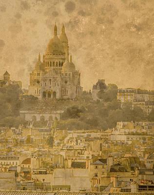 Photograph - Paris, France - Sacre-coeur Oldplate by Mark Forte