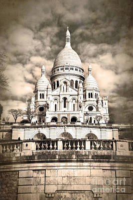 Postcard Photograph - Sacre Coeur Sepia by Jane Rix