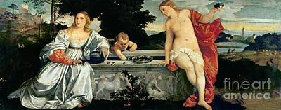 Sacred And Profane Love Art Print by Titian