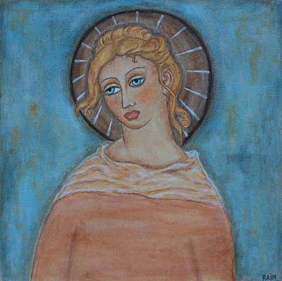 Devotional Painting - Sacred Angel by Rain Ririn