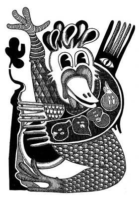 Revelation Drawing - Sacred Bird by Rafael Trabasso
