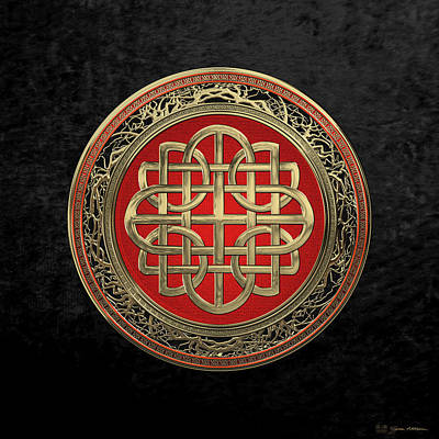 Digital Art - Sacred Celtic Gold Knot Cross Over Black Velvet by Serge Averbukh