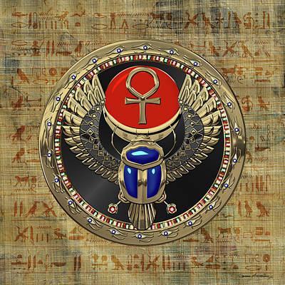 Digital Art - Sacred Egyptian Winged Scarab With Ankh In Gold And Gems Over Papyrus Covered With Hieroglyphics by Serge Averbukh