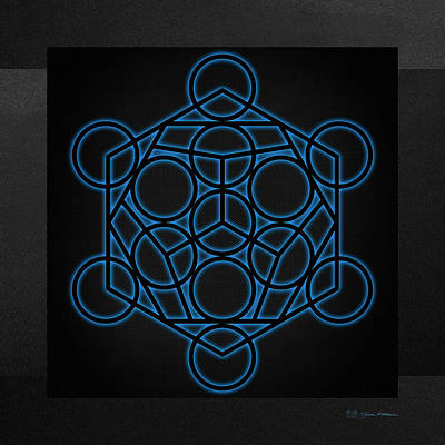 Digital Art - Sacred Geometry - Black Dodecahedron With Blue Halo Over Black Canvas by Serge Averbukh
