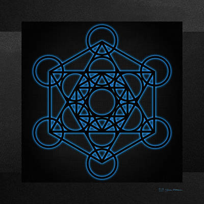 Digital Art - Sacred Geometry - Black Octahedron With Blue Halo Over Black Canvas by Serge Averbukh