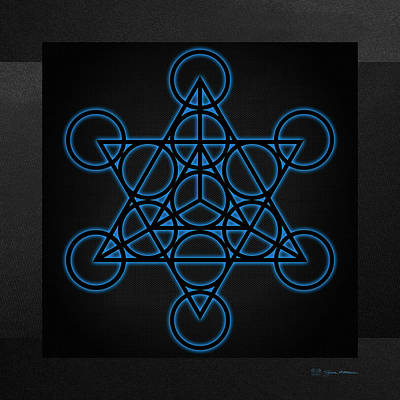 Digital Art - Sacred Geometry - Black Star Tetrahedron With Blue Halo Over Black Canvas by Serge Averbukh