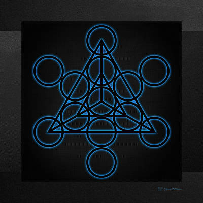 Digital Art - Sacred Geometry - Black Tetrahedron With Blue Halo Over Black Canvas by Serge Averbukh