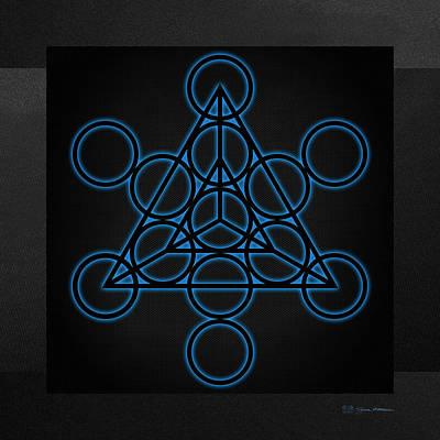 Digital Art - Sacred Geometry - Black Tetrahedron With Blue Halo Over Black Canvas by Serge Averbukh