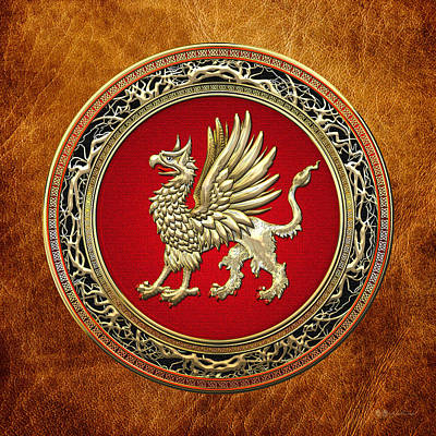 Photograph - Sacred Golden Griffin On Brown Leather by Serge Averbukh