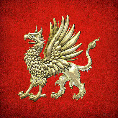 Digital Art - Sacred Golden Griffin On Red Leather by Serge Averbukh